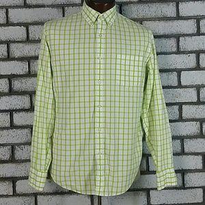 J Crew Men's Shirt Green White Size M
